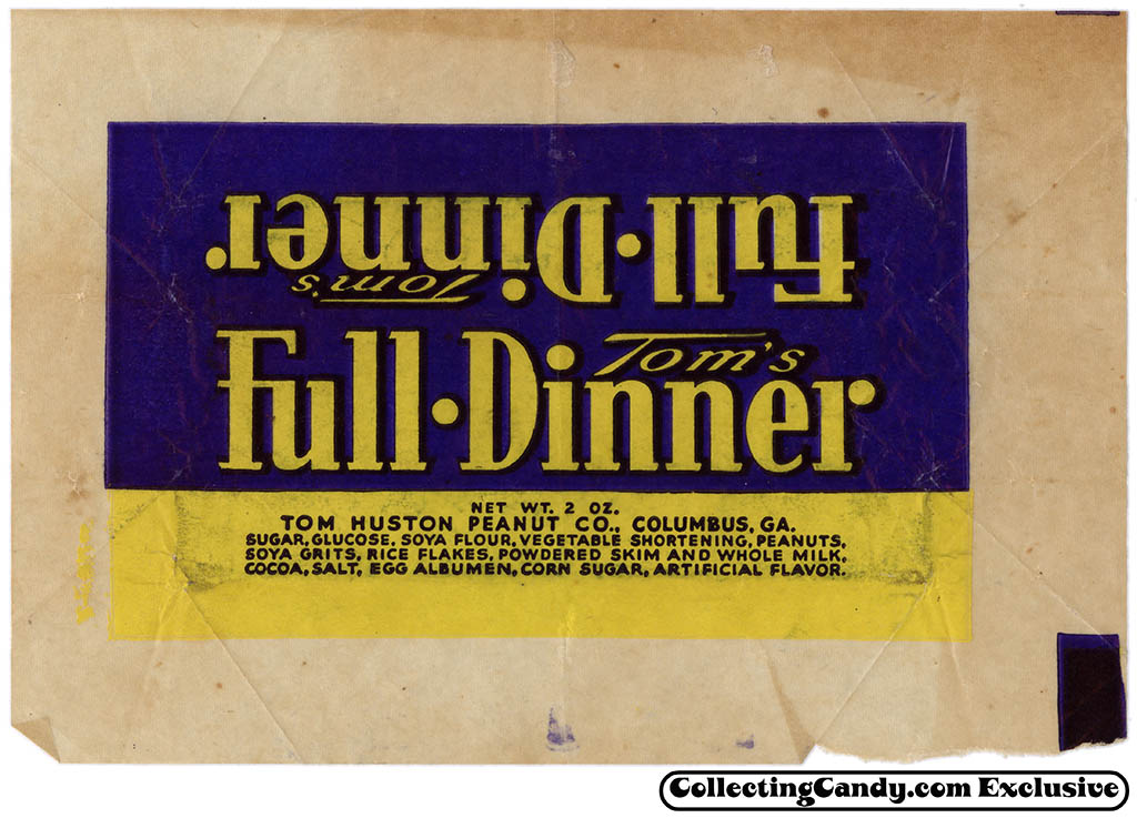 Tom Huston Peanut Co - Tom's Full Dinner - chocolate candy bar wrapper - 1930's 1940's