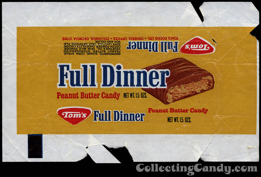 Tom's Foods - Tom's Full Dinner - chocolate candy bar wrapper - 1978