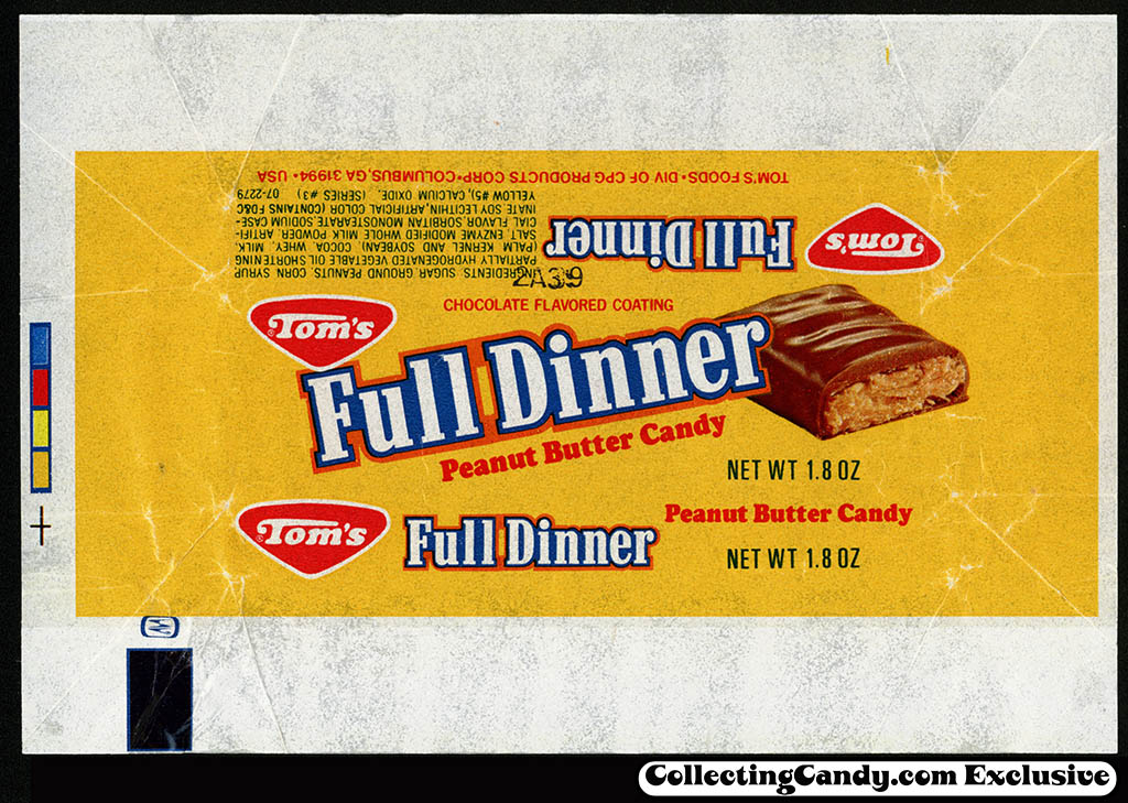 Tom's Foods - Tom's Full Dinner - chocolate candy bar wrapper - 1981