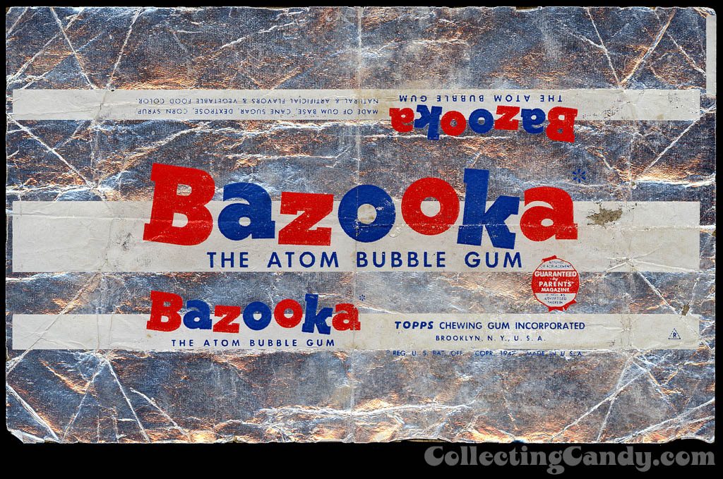 Topps - Bazooka The Atom Bubble Gum - candy package foil wrapper - 1950's