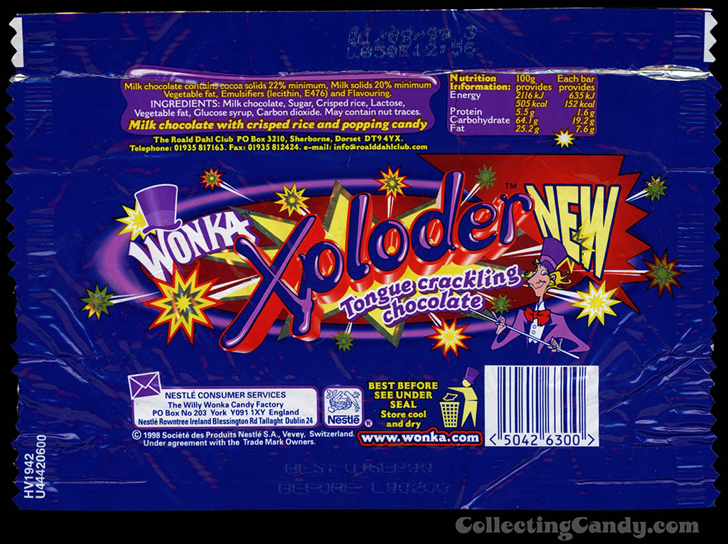 UK - Nestle - Wonka - Xploder - tongue crackling chocolate - candy bar wrapper - 1998