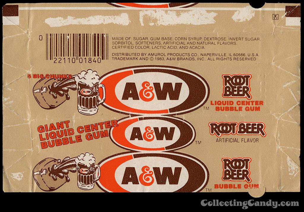 Amurol - A&W Root Beer liquid center bubble gum pack wrapper - 1983