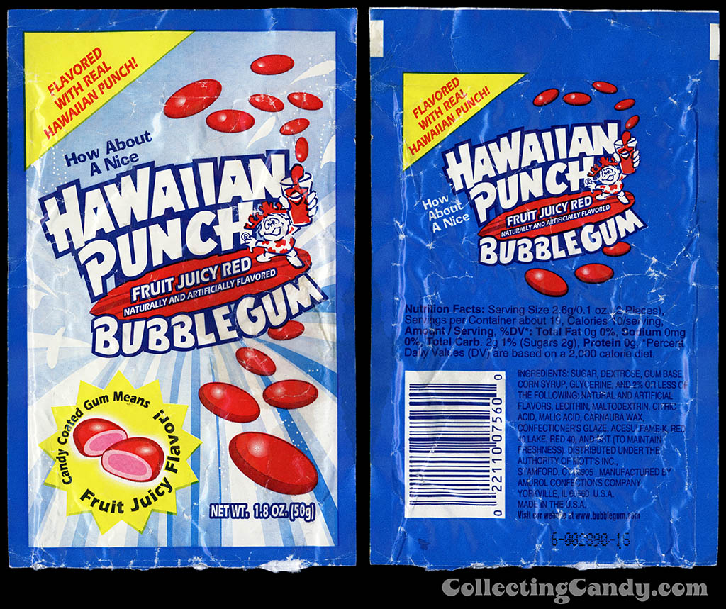 Amurol - Hawaiian Punch Fruit Juicy Red Bubble Gum - bubblegum candy package - 1990's
