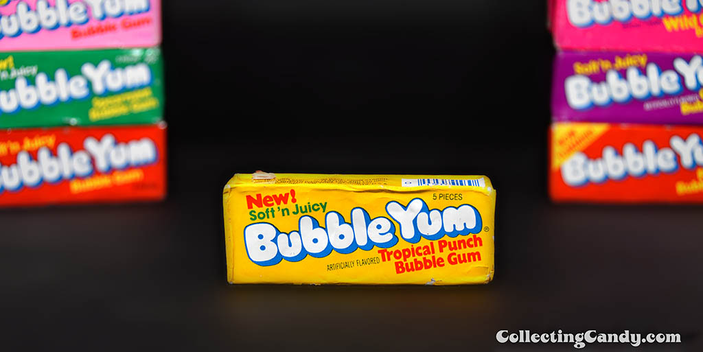 Bubble Yum - New Soft 'n Juicy - Tropical Punch bubble gum unopened pack - 1979