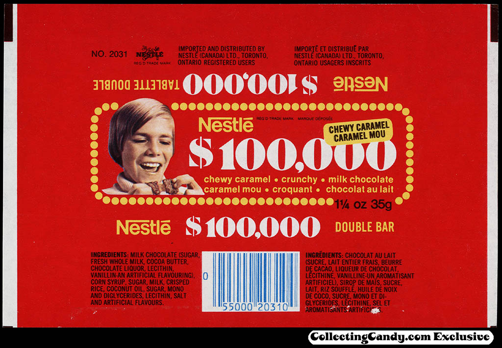 Canada - Nestle - 100,000 - 1 1/4 oz chocolate candy bar wrapper - 1976-77