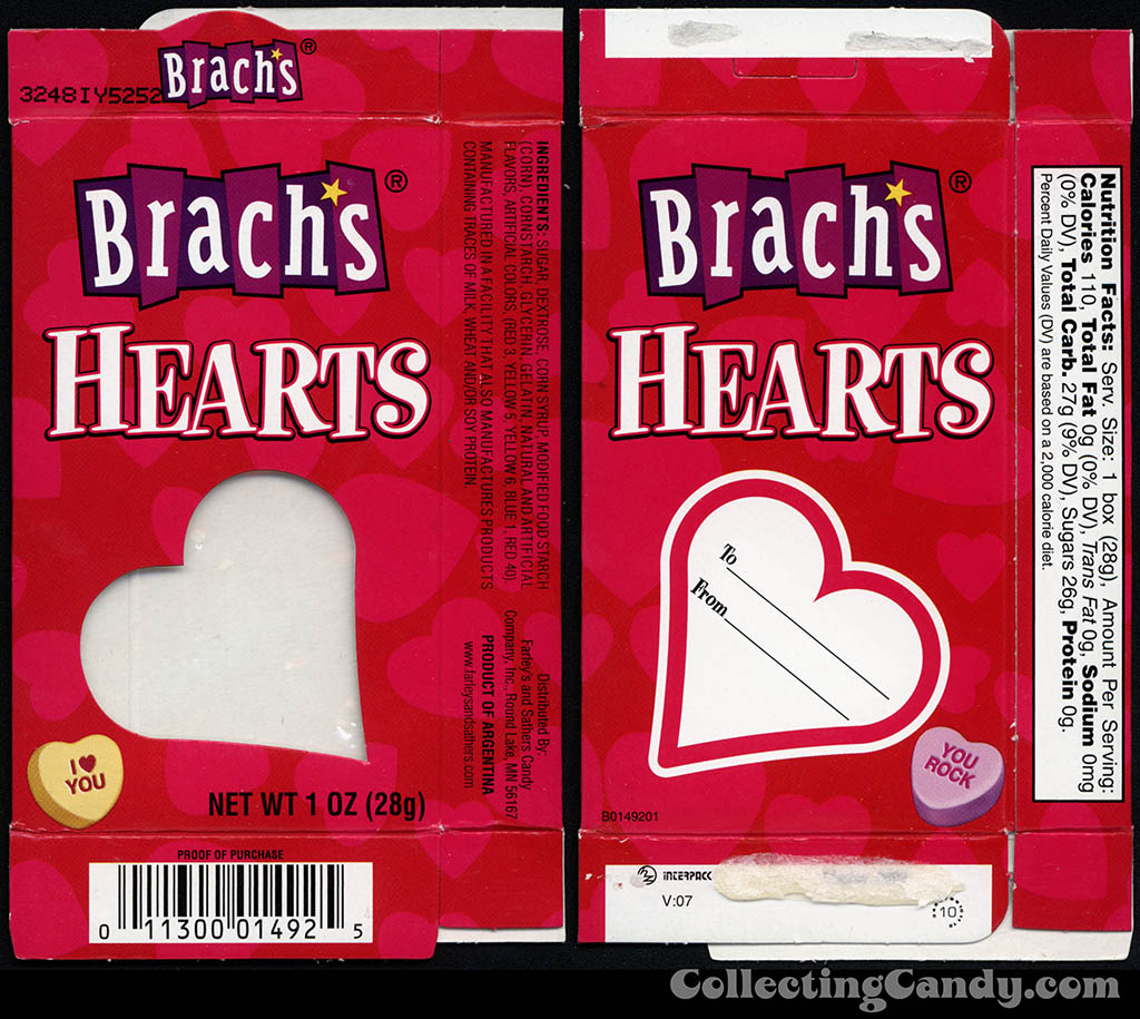 Farley's and Sathers - Brach's Hearts - 1 oz Valentine candy box - 2010