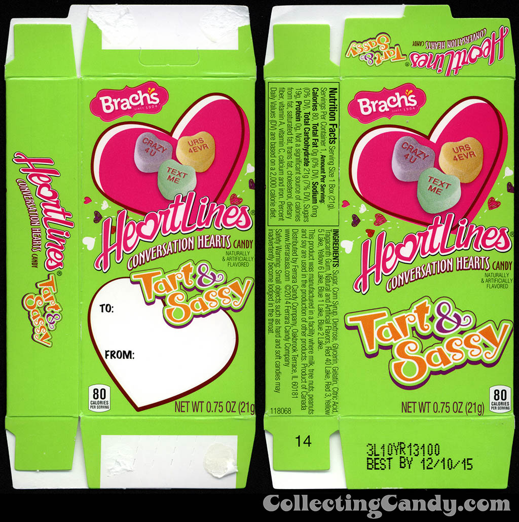 Ferrara Candy Company - Brach's HeartLiners Tart & Sassy conversation hearts - .75oz multi-pack Valentine's candy box - 2014