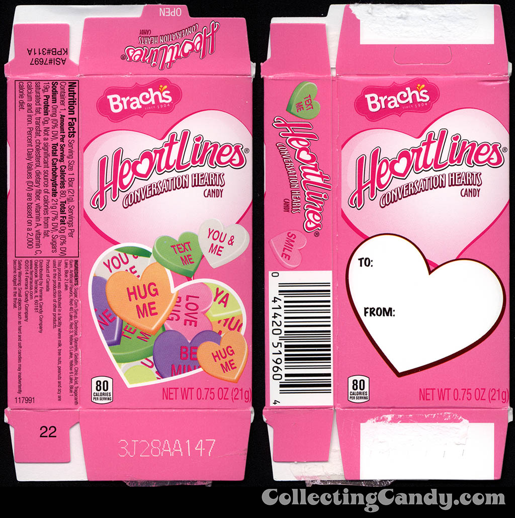 Ferrara Candy Company - Brach's HeartLiners conversation hearts - .75oz Valentine's candy box - 2014
