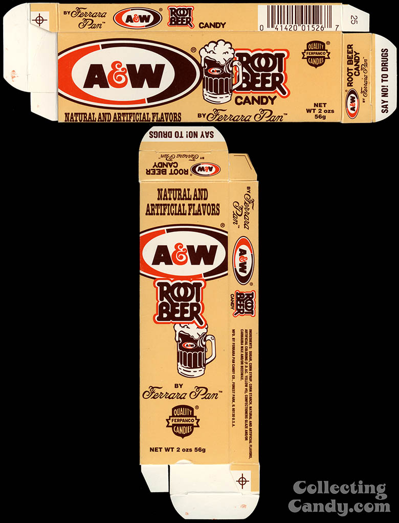 Ferrara Pan - A&W Root Beer candy box - early 1980's