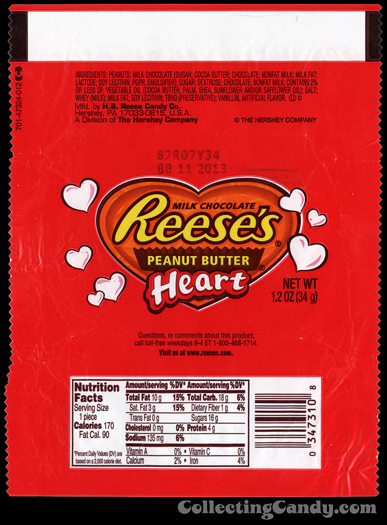 Hershey - Reese's Peanut Butter Heart - 1.2 oz Valentine's chocolate candy bar wrapper - 2013