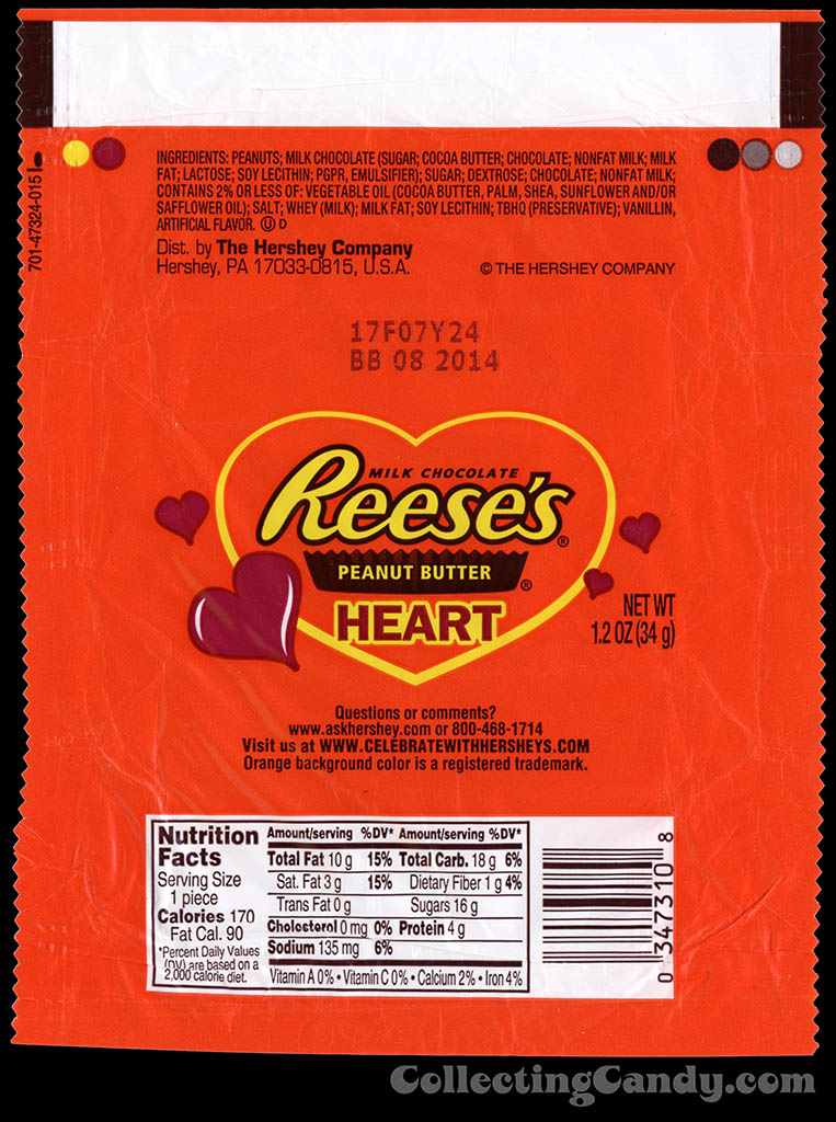 Hershey - Reese's Peanut Butter Heart - 1.2 oz Valentine's chocolate candy bar wrapper - 2014
