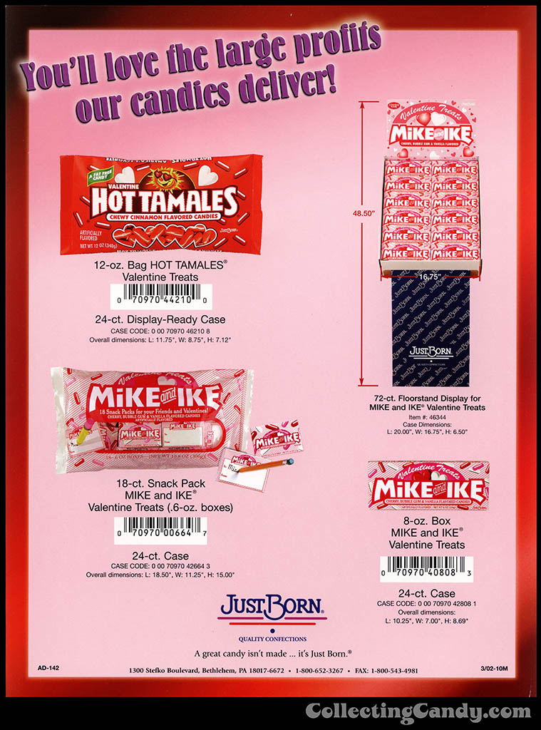 Just Born - Hot Tamales - Mike and Ike - Valentine treats - promotional sales flyer - 2002