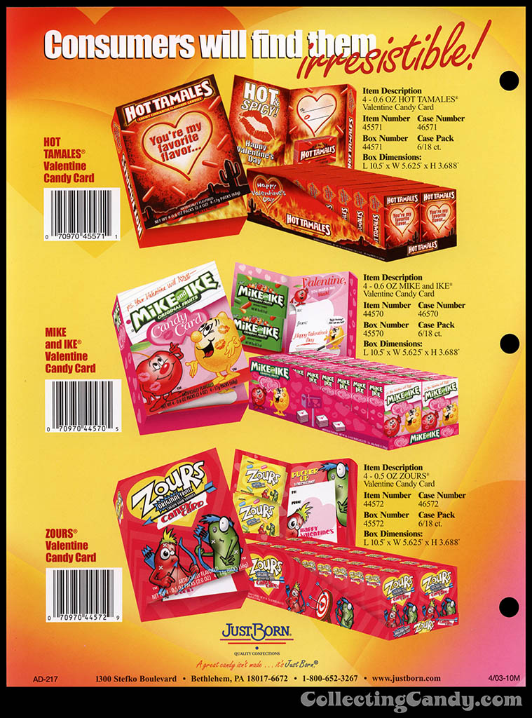 Just Born - Hot Tamales, Mike and Ike, Zours Valentine Candy cards - Valentine's catalog pages 2004