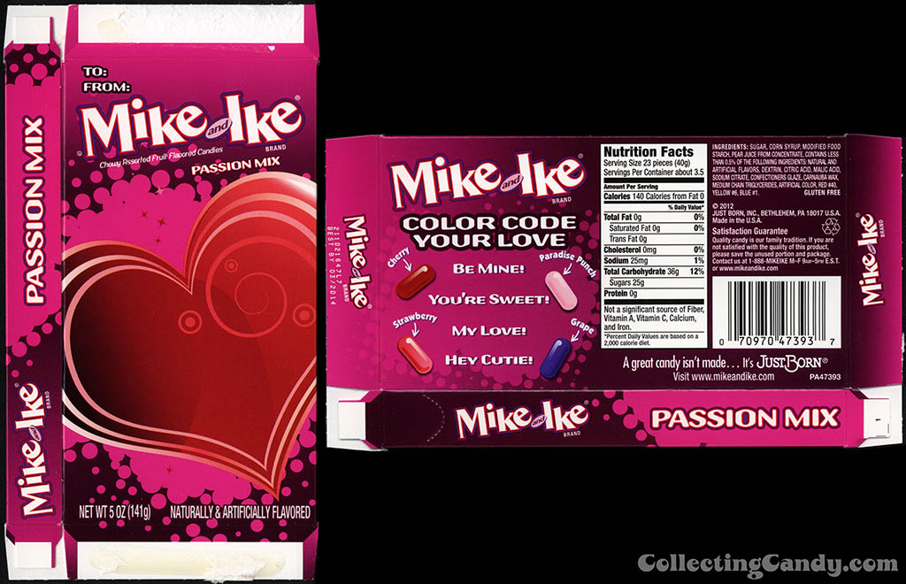 Just Born - Mike and Ike Passion Mix - 5 oz Valentine's candy box - 2013