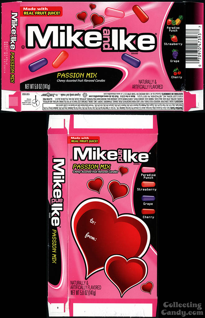 Just Born - Mike and Ike Passion Mix - 5 oz Valentine's candy box - 2014