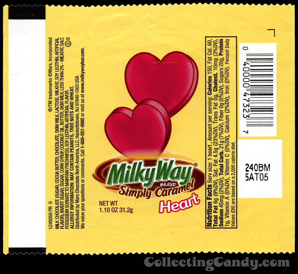 Mars - Milky Way Simply Caramel Heart - 1.10 oz Valentine's chocolate candy wrapper - 2013