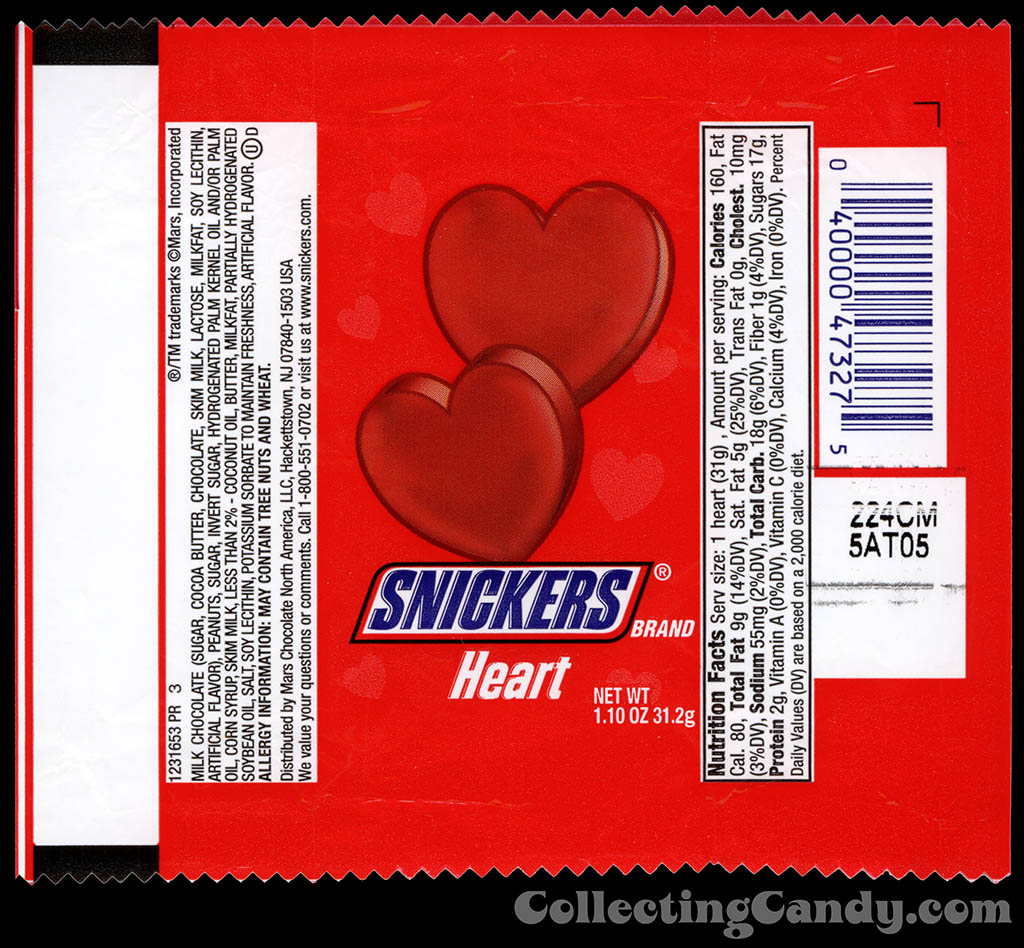 Mars - Snickers Heart - 1.10 oz Valentine's chocolate candy wrapper - 2013