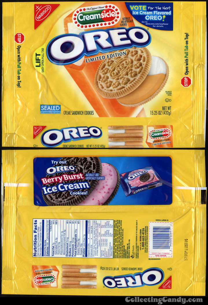 Nabisco - Oreo - Creamsicle limited editon - Vote for the next icream flavor Oreo - cookie package - 2011