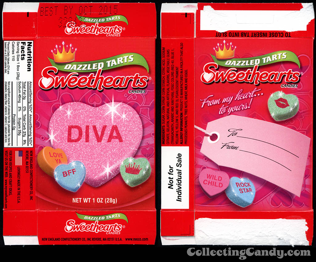 Necco - Sweethearts Dazzled Tarts - Diva - 1 oz multi-pack Valentine candy box - 2014
