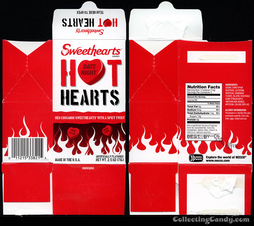 Necco - Sweethearts Hot Hearts - 2.5 oz Valentine's candy box - February 2014