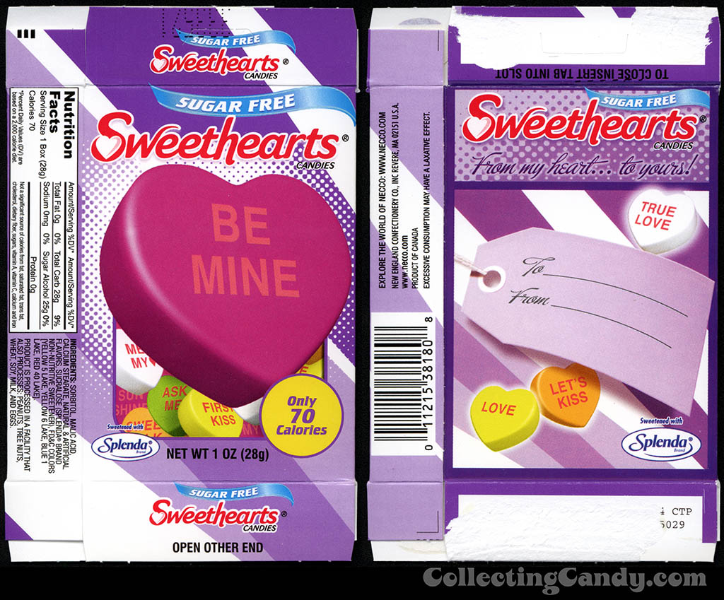 Necco - Sweethearts Sugar Free - Be Mine - 1 oz Valentine candy box - 2014