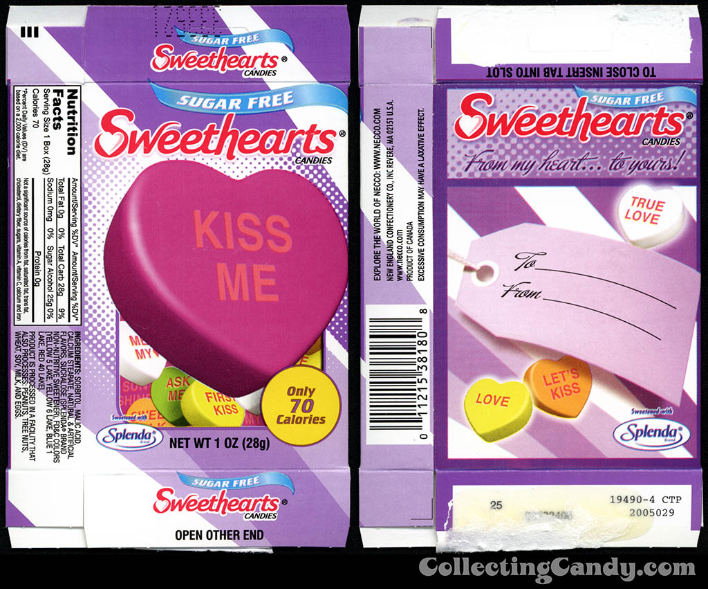 Necco - Sweethearts Sugar Free - Kiss Me - 1 oz Valentine candy box - 2014