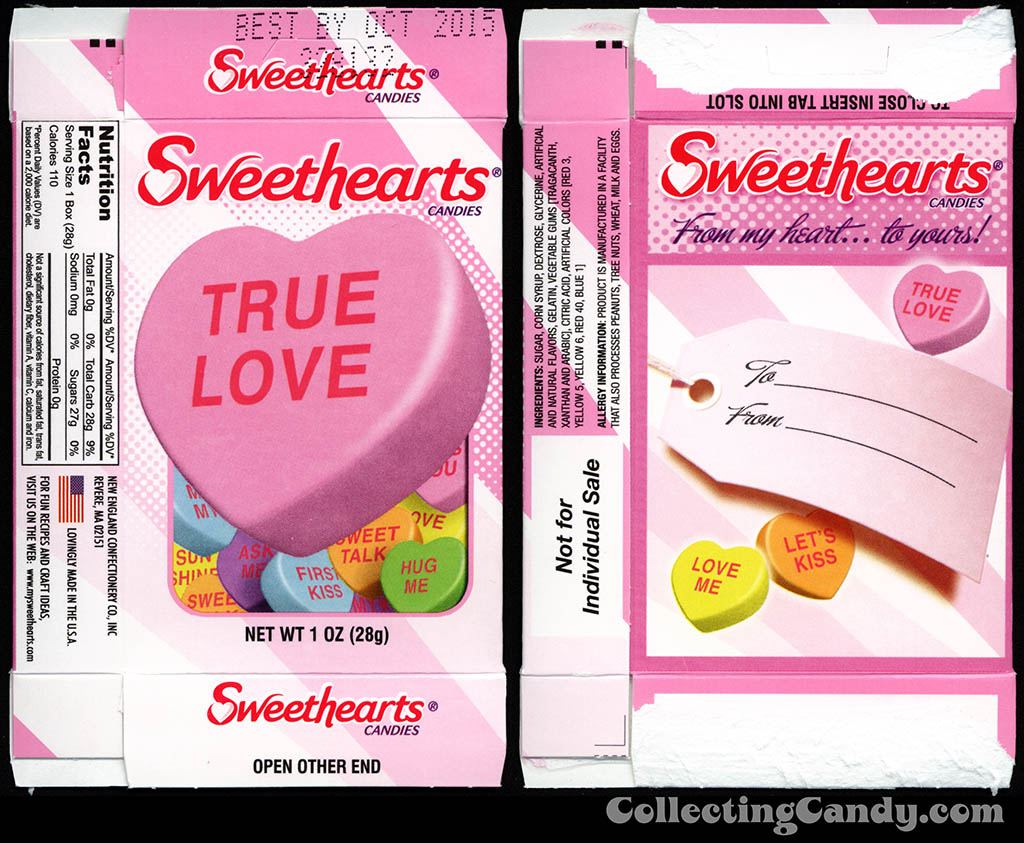 Necco - Sweethearts - True Love - 1 oz multi-pack Valentine candy box - 2014