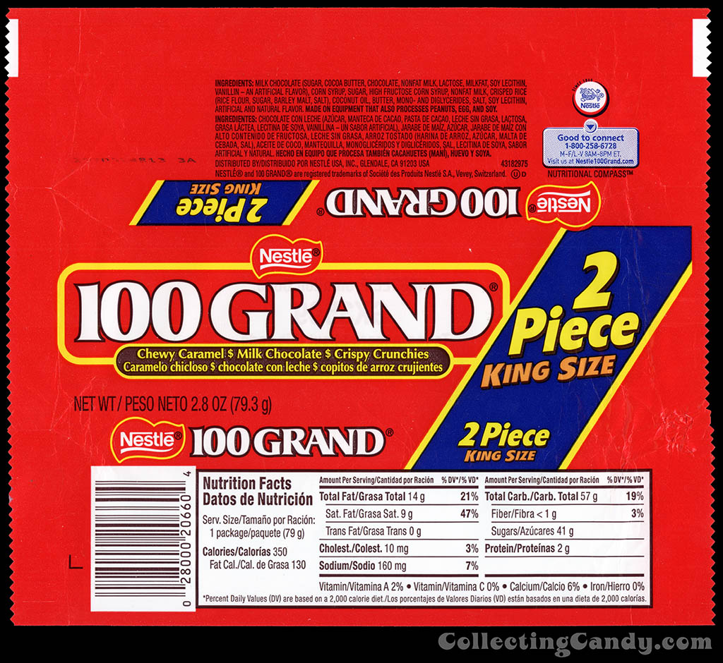 Nestle - 100 Grand - 2 Piece King Size - 2.8 oz chocolate candy bar wrapper - 2012