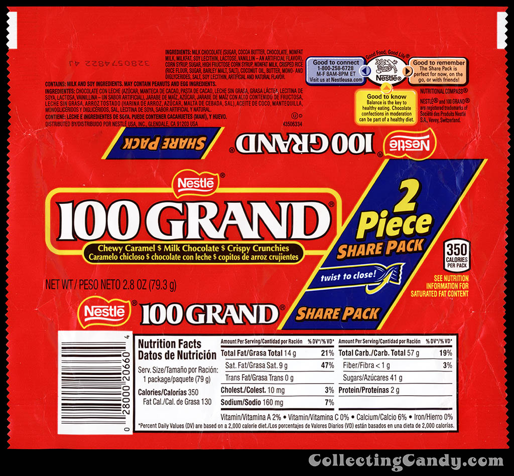 Nestle - 100 Grand - 2 Piece Share Pack - twist to close - 2.8 oz chocolate candy bar wrapper - January 2014