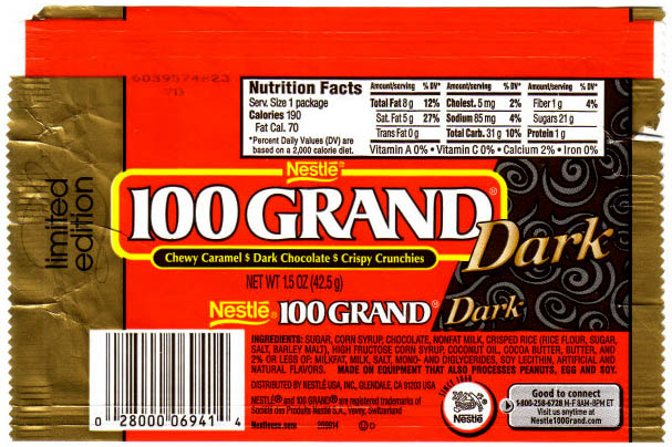 Nestle - 100 Grand Dark - 2006 -CandyWrapperArchive.com