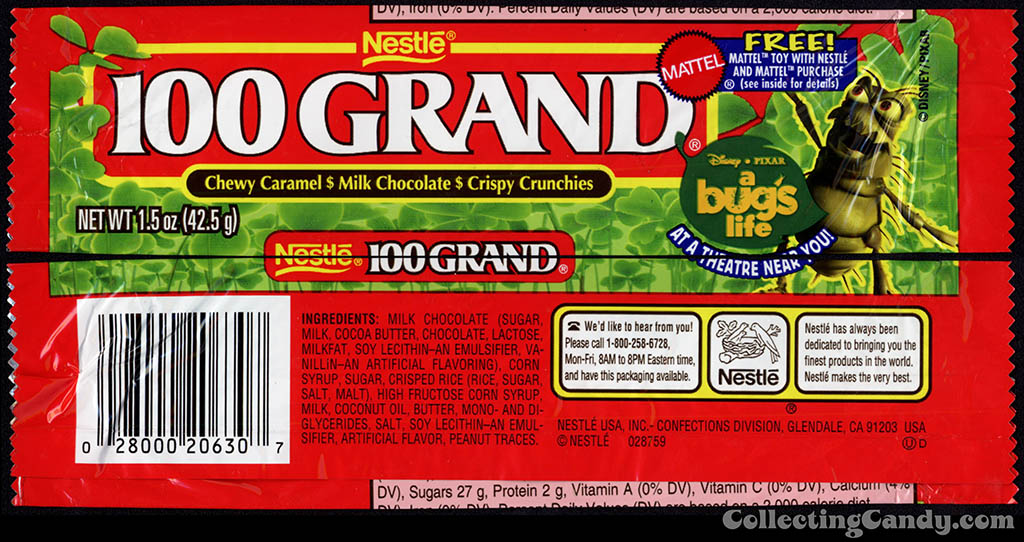 Nestle - 100 Grand - Disney-Pixar A Bug's Life - Free Mattel Toys - chocolate candy wrapper - 1998