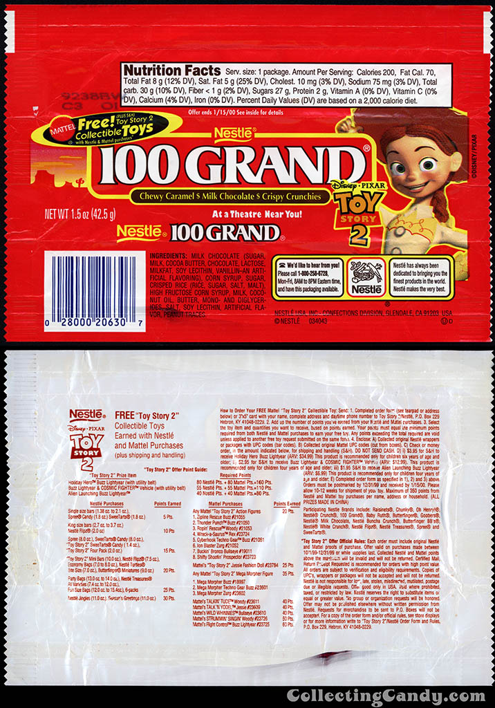 Nestle - 100 Grand - Disney-Pixar Toy Story 2 Free Mattel Toys - chocolate candy wrapper - 1999
