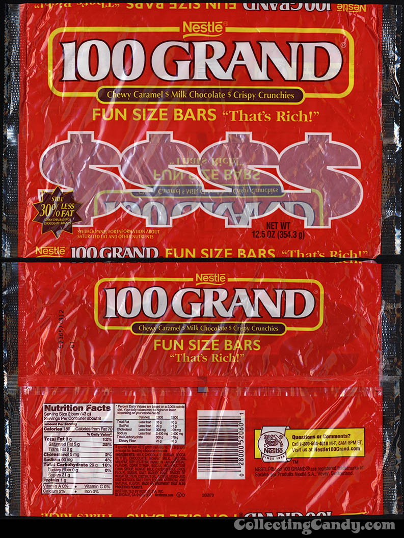 Nestle - 100 Grand - Fun Size bars dollar sign polybag - 2000's