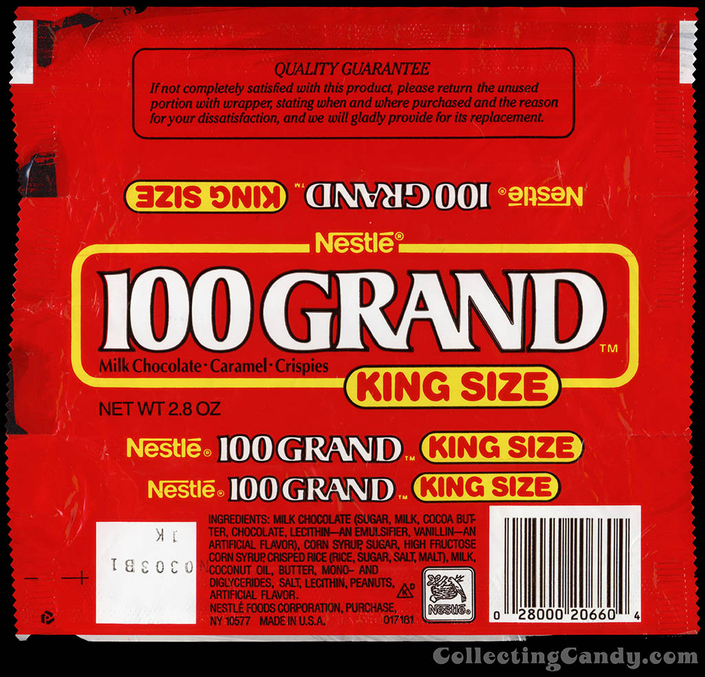 Nestle - 100 Grand - King Size - 2.8 oz chocolate candy bar wrapper - early 1990's