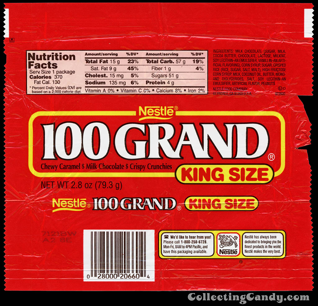 Nestle - 100 Grand - King Size - 2.8 oz chocolate candy bar wrapper - late 1990's