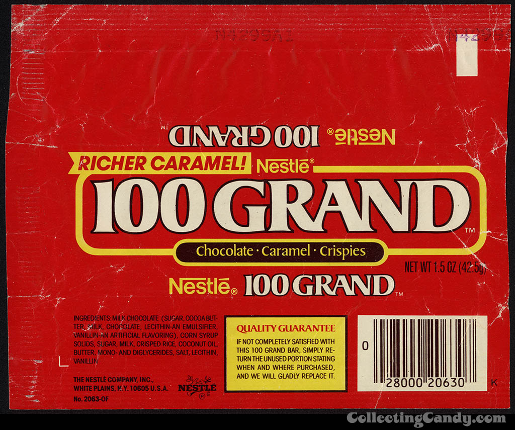 Nestle - 100 Grand - chocolate candy bar wrapper - 1986