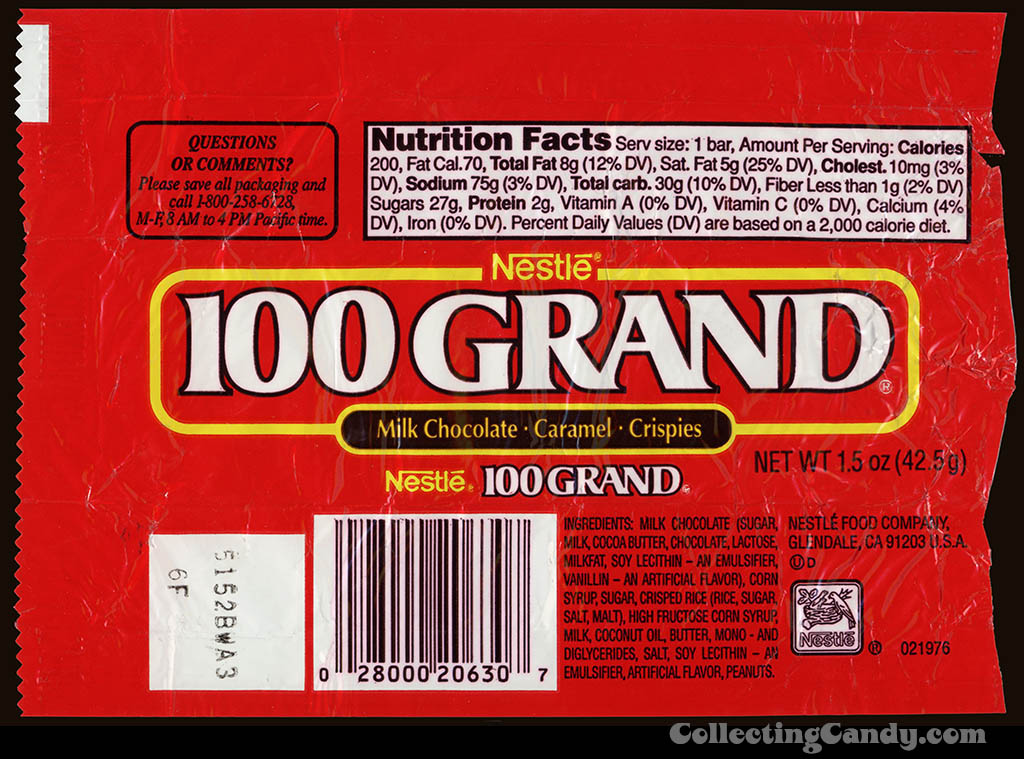 Nestle - 100 Grand - chocolate candy bar wrapper - 1990's