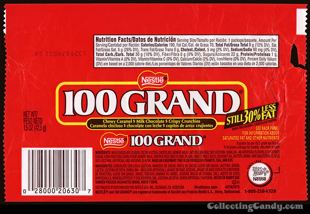 Nestle - 100 Grand - chocolate candy bar wrapper - 2012