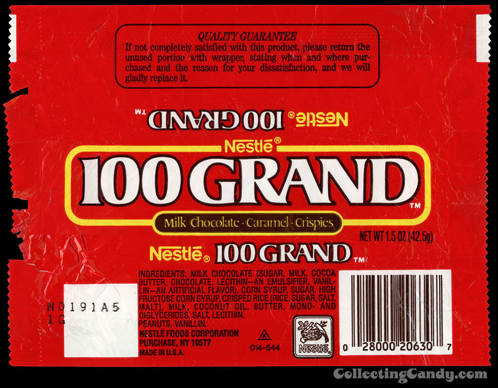 Nestle - 100 Grand - chocolate candy bar wrapper - late 1980's to early 1990'