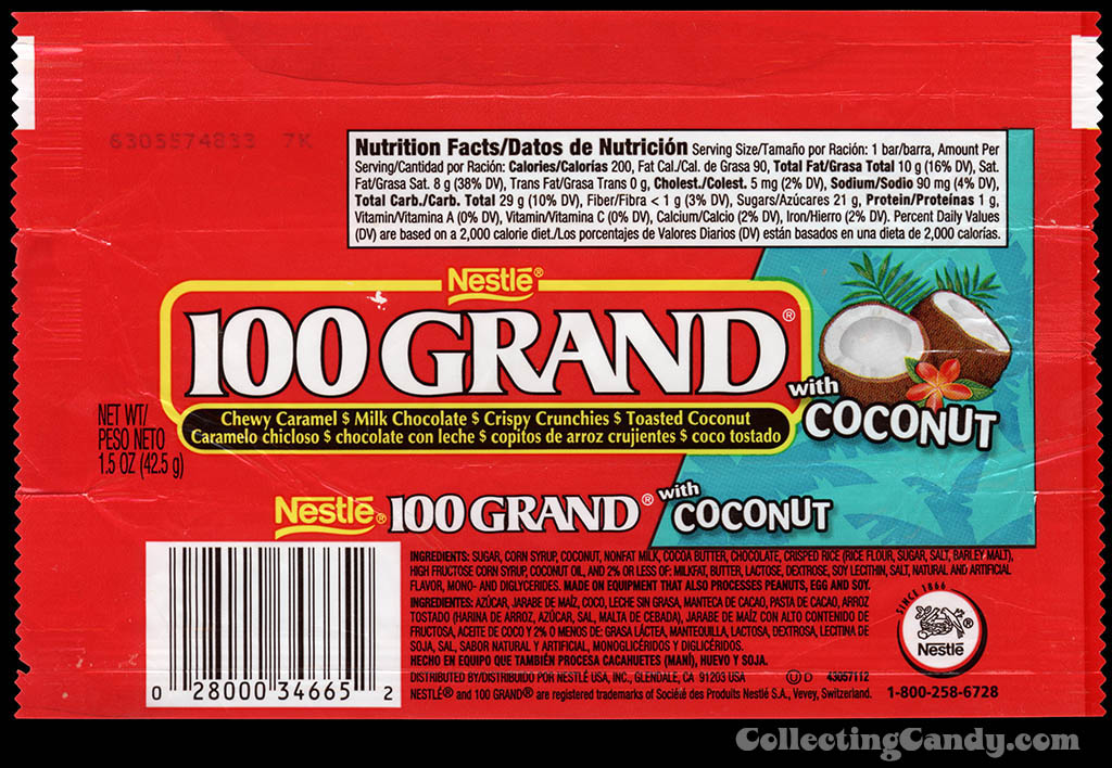 Nestle - 100 Grand with Coconut - chocolate candy wrapper - 2006
