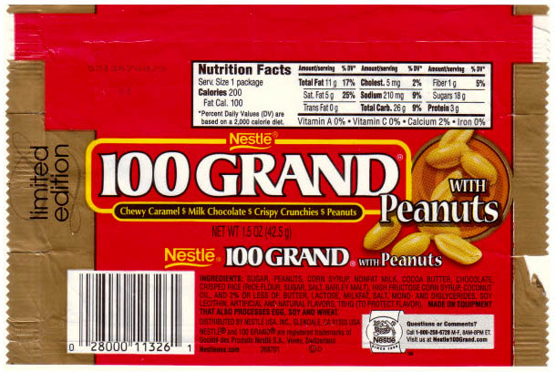 Nestle - 100 Grand with Peanuts - 2005 - CandyWrapperArchive.com