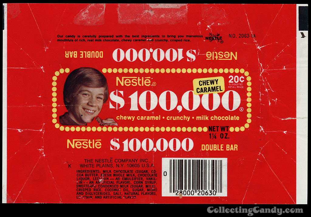 Nestle - $100,000 Bar - 20-cent chocolate candy bar wrapper - 1976
