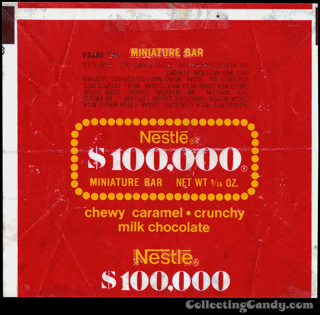 Nestle - $100,000 Bar - Fun Size miniature candy bar wrapper - 1977