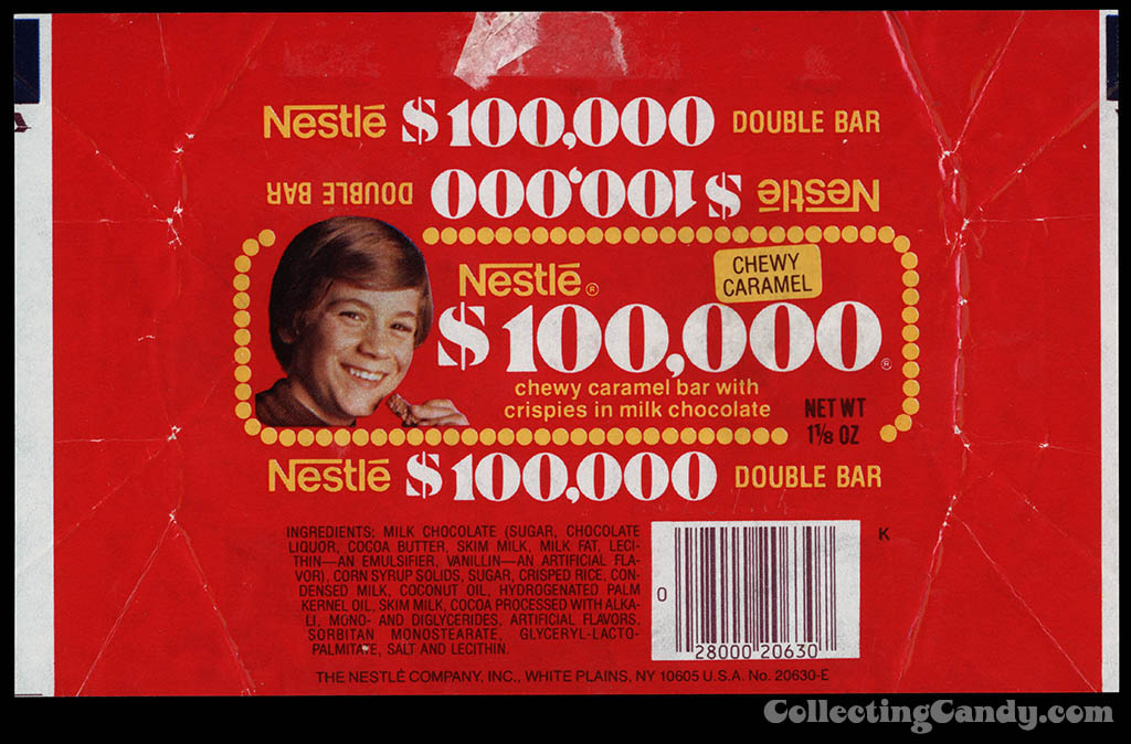 Nestle - $100,000 Bar - chocolate candy bar wrapper - 1979