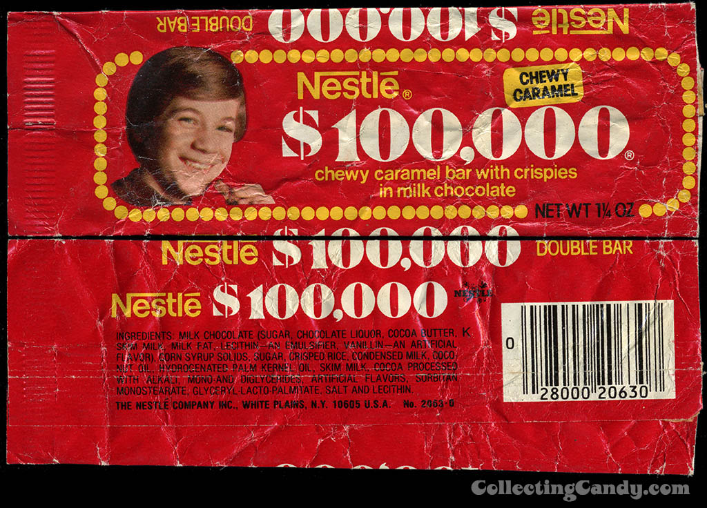 Nestle - $100,000 Dollar 100 Grand - candy bar wrapper - late 1970's
