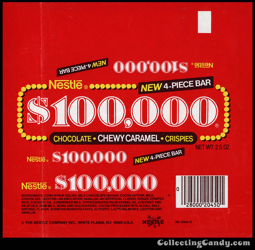 Nestle - $100,000 - New 4-Piece Bar - 2.5 oz chocolate candy bar wrapper - 1982