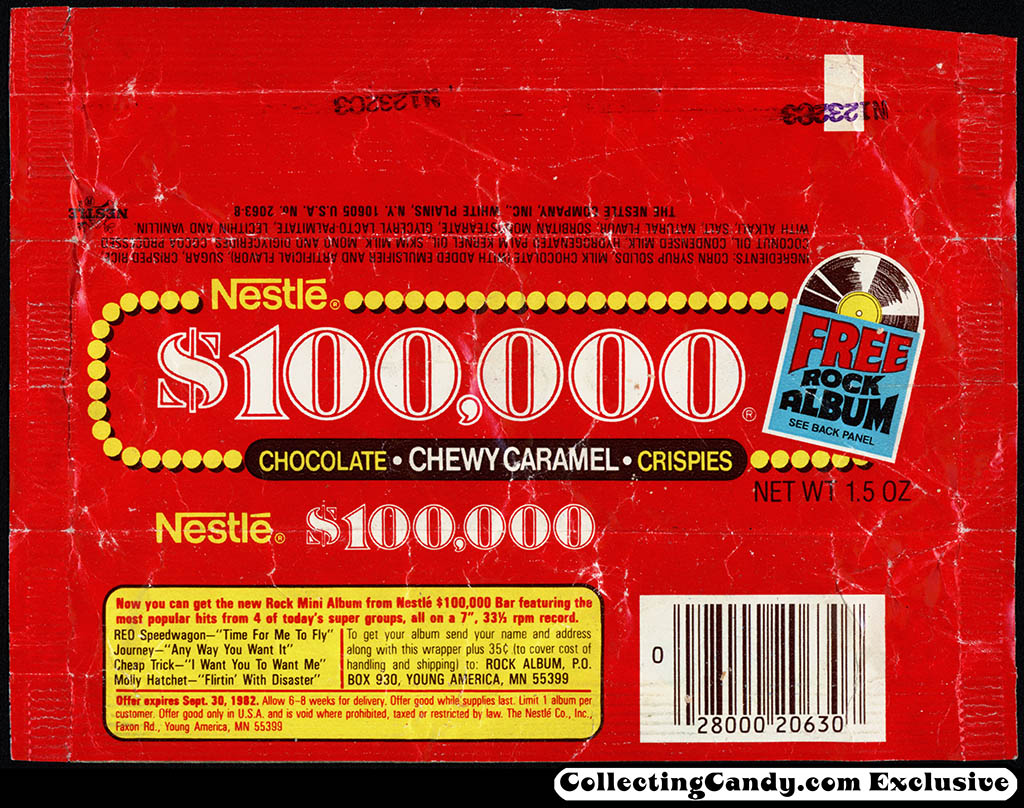 Nestle - $100,000 bar - Free Rock Album - 1.5 oz chocolate candy bar wrapper - 1982