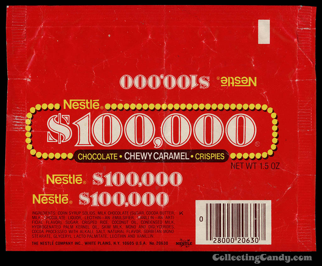Nestle - $100,000 bar - chocolate candy bar wrapper - 1980