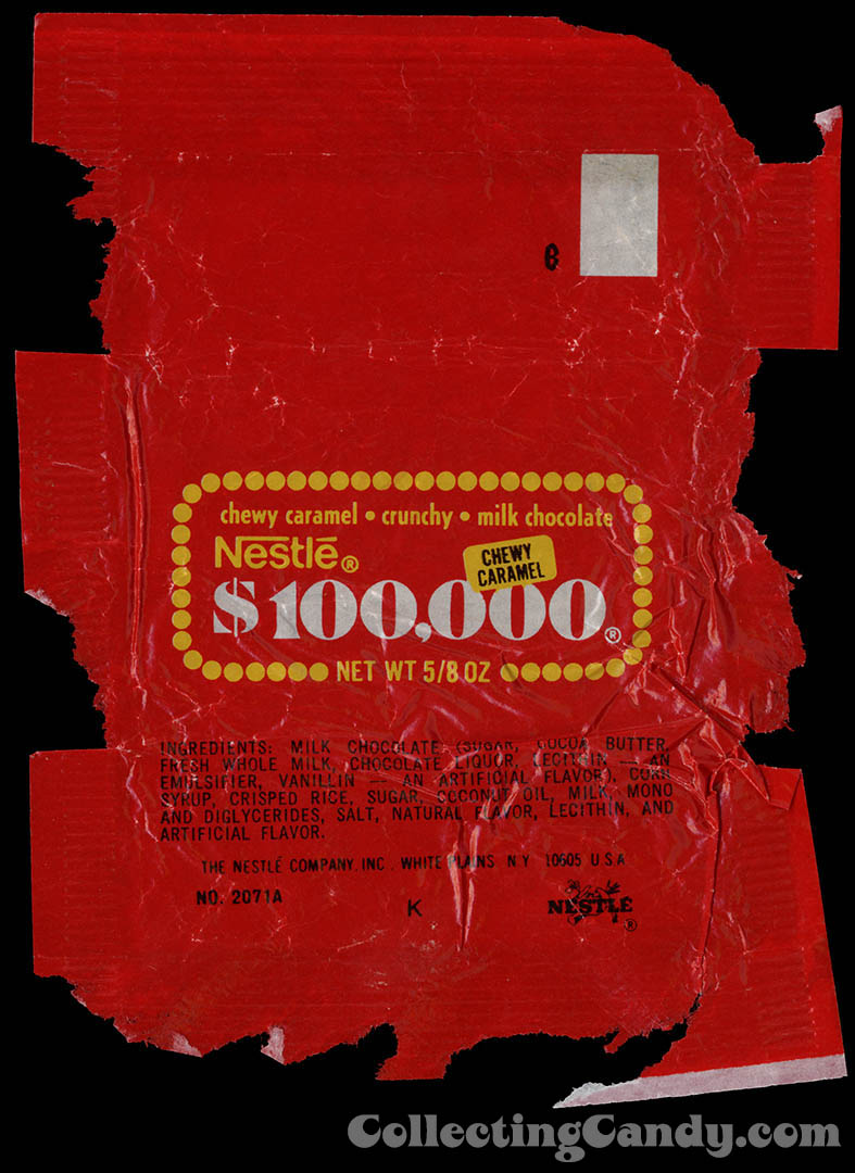 Nestle - $100,000 bar - fun size - candy bar wrapper - 1976