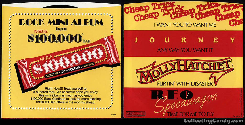 Nestle - $100,000 bar - rock mini album sleeve - 1982